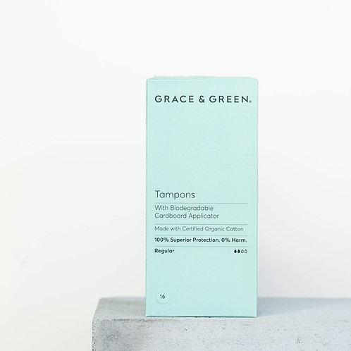 Grace & Green Organic Cotton Tampons - Applicator - Regular  16 pack