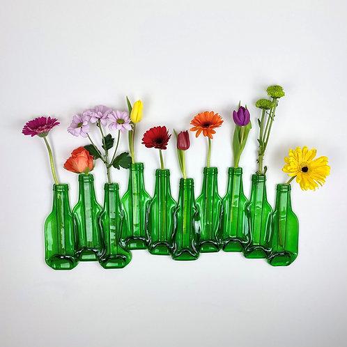 TEN GREEN BOTTLES - WALL HANGING FLOWER VASE DISPLAY