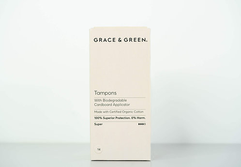 Grace & Green Organic Cotton Tampons Applicator Super  14 pack