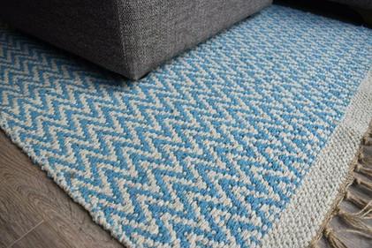 Handmade Rug Recycled Cotton & Jute Blue