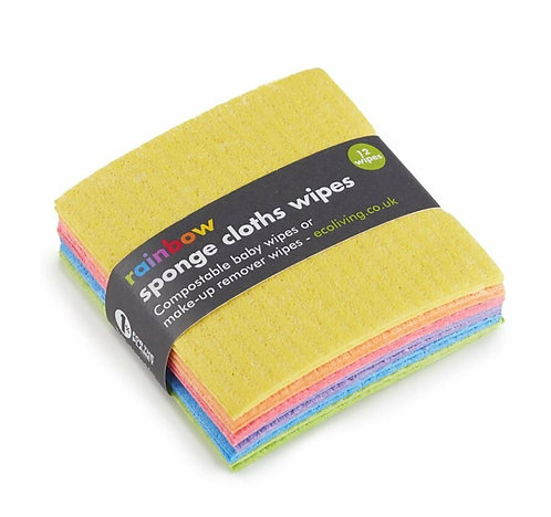 Natural Non-plastic Cleaning Cloths, Rainbow 12pack