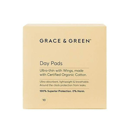 Grace & Green Organic Cotton Menstrual Day Pad 10pack