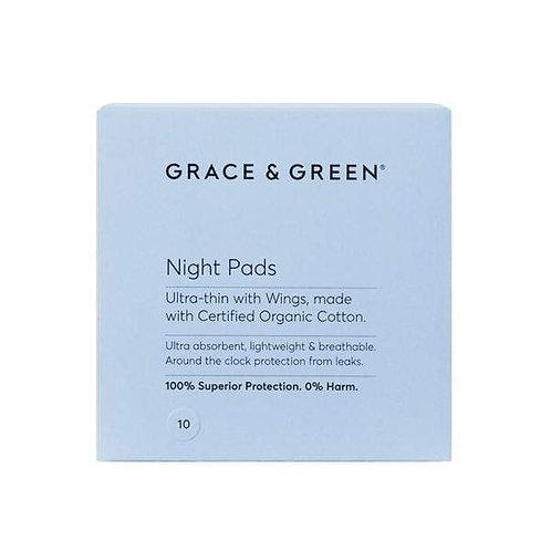 Grace & Green Organic Cotton Menstrual Night Pad 10pack