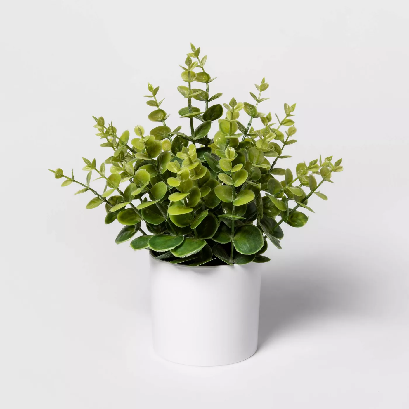 artificial eucalyptus plant white pot