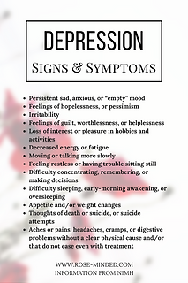Signs and symptoms of depression, mentall illness