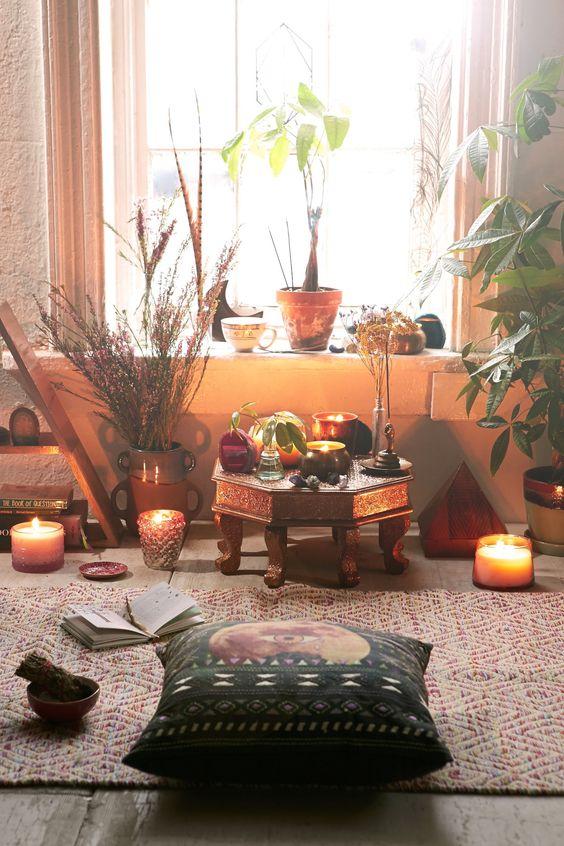 meditation, yoga studio, candles, incense, plants, indoor plants, home decor