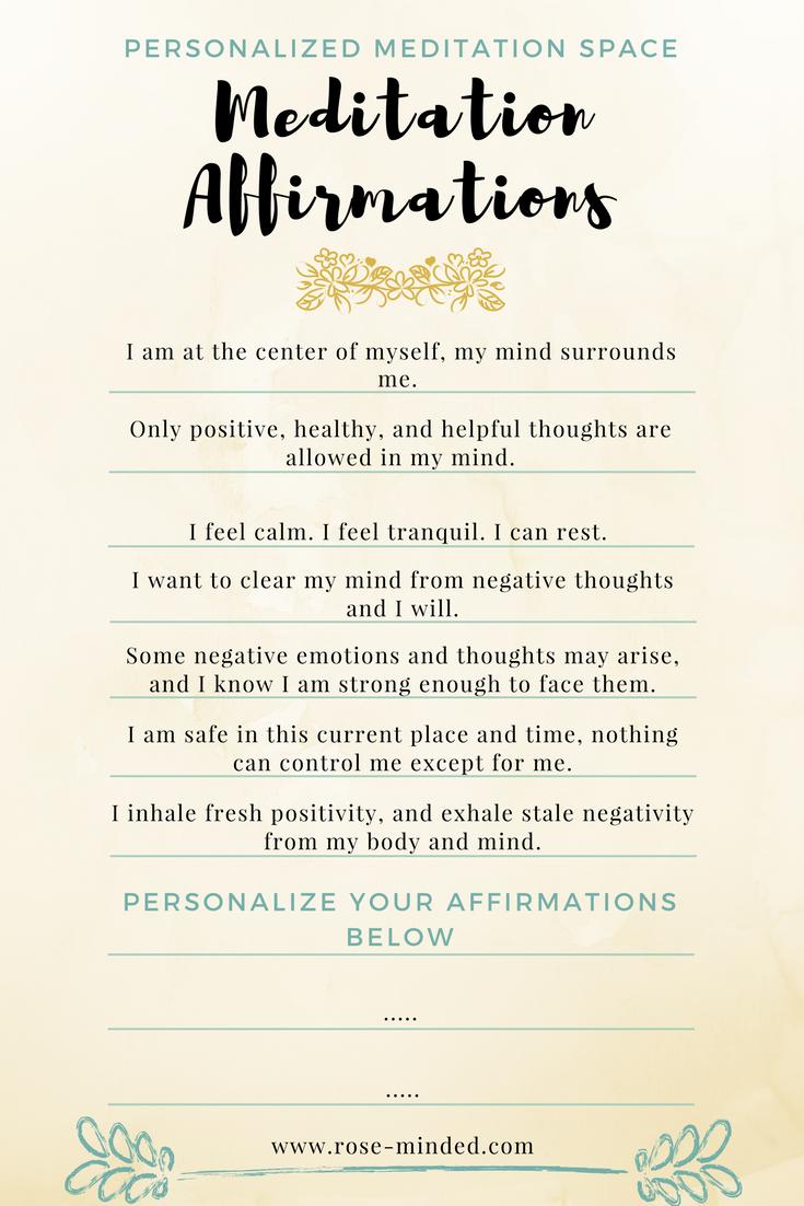 meditation affirmations, mindfulness