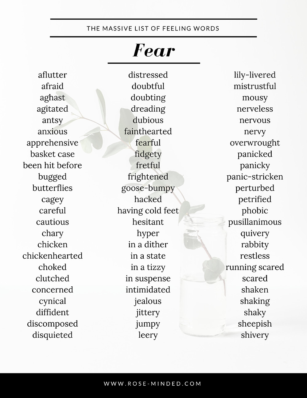 massive list of feeling and emotion words, free therapy resources, printable ebook, free ebook