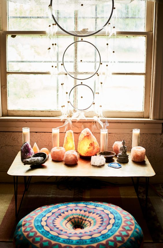 salt lamps, candles, dream catcher, crystals, meditation