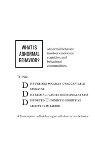 what is abnormal behavior? emotional, cognitive, and behavioral abnormalities. maladaptive, depression, clinical depression, major depressive disorder