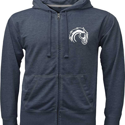 Ladies Navy Full Zip Burnout Hoodie
