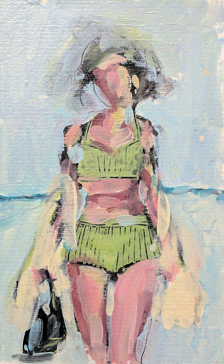 Green Swimmer #1 (Small Painting)