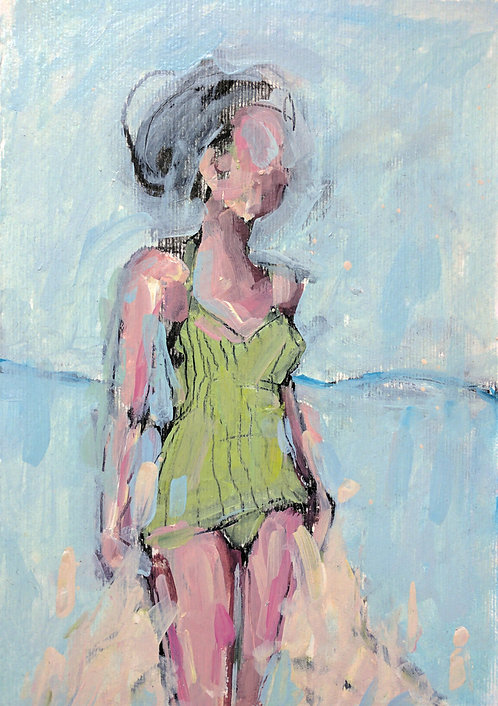 Green Swimmer #2 (Small Painting)