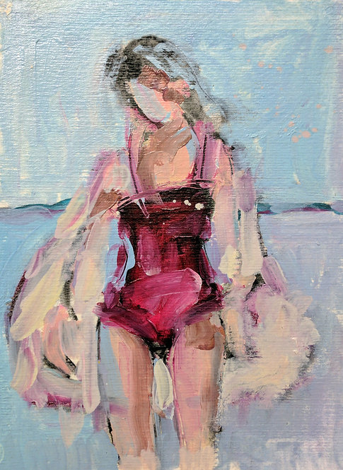 Crimson Swimmer (Small Painting)