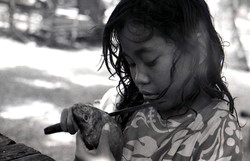 Almira eating fish