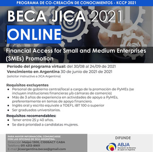 BECA JICA 2021 - ONLINE    FINANCIAL ACCESS FOR SMALL AND MEDIUM ENTERPRISES PROMOTION