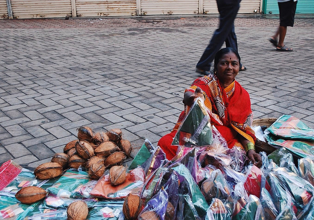 Setting up shop near the Mahalakshmi Temple