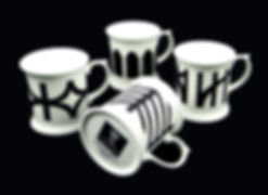 Set of 4 monochrome mugs