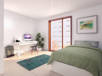 Voorbeeld van kamers 0101 en 0102.