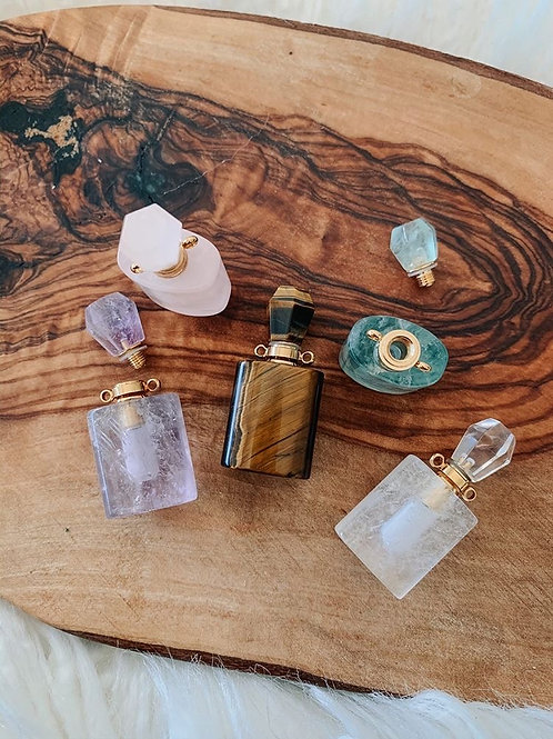 Crystal Essential Oil bottles with Organic Oils