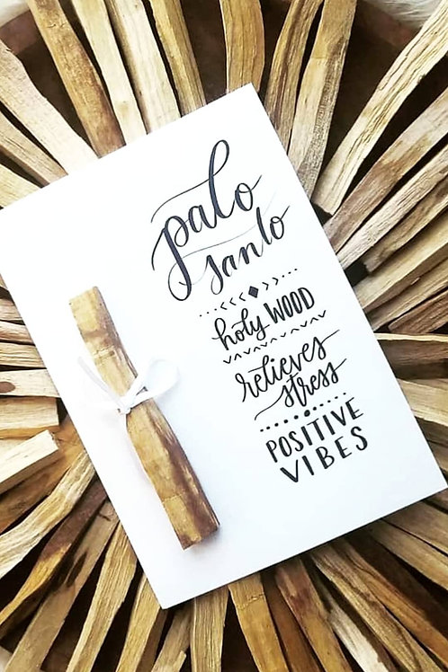 Ethically Sourced Palo Santo and Handlettered Card