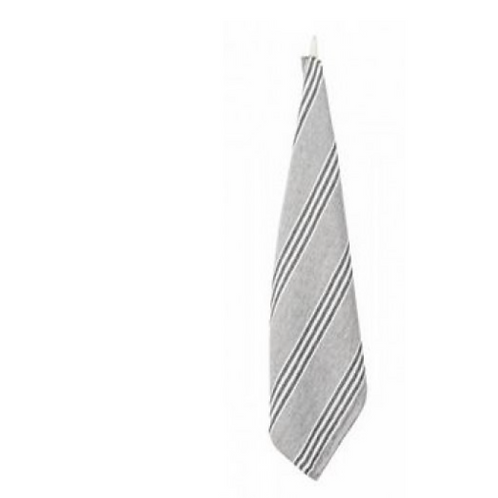Linen Grey Stripe Tea Towel