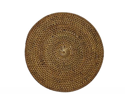 Round Rattan Placemat ~ Antique