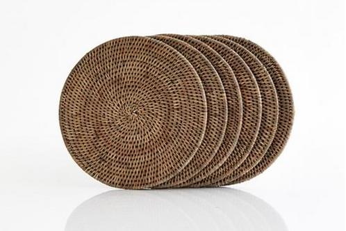 Rattan Round Placemats ~ Antique