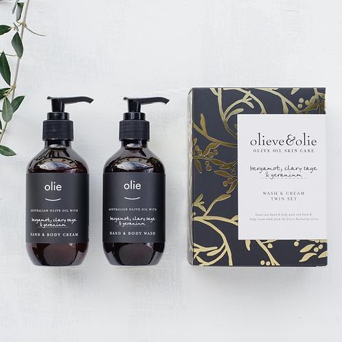 Wash & Cream Twin Gift Set ~ Bergamot, Clary Sage & Geranium