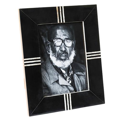 """Black & Textured White Lines Frame 5X7"""""""