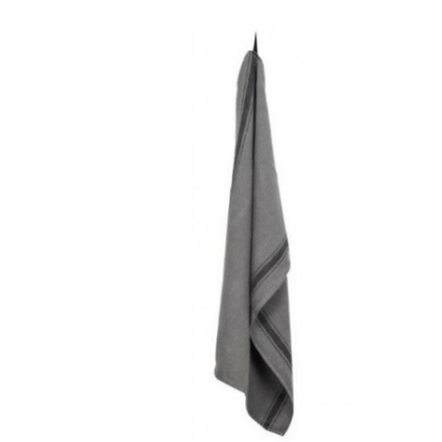 Linen Charcoal Stripe Tea Towel