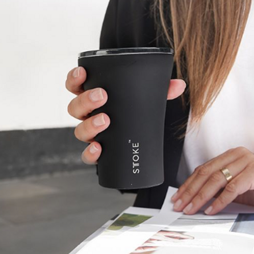STTOKE Ceramic Reusable Coffee Cup ~ Black