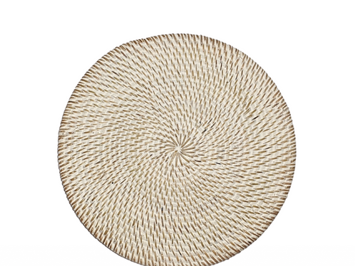 Round Rattan Placemat ~ White Wash