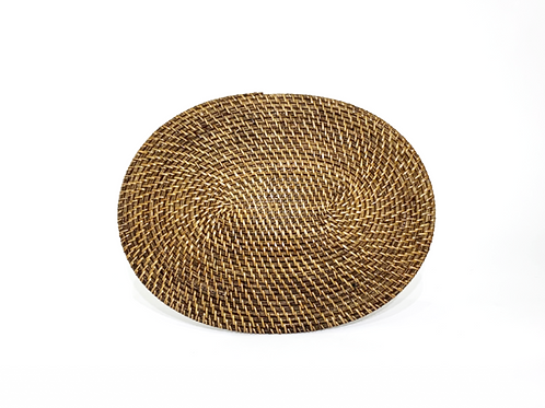 Oval Rattan Placemat ~ Antique