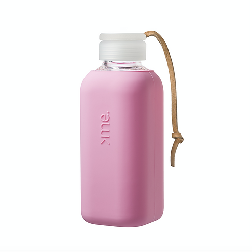 SquireMe Glass Bottle ~ Powder Pink