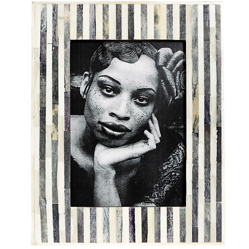"Grey & White Bone Stripe Frame 5X7"""