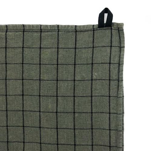 Khaki Check Tea Towel