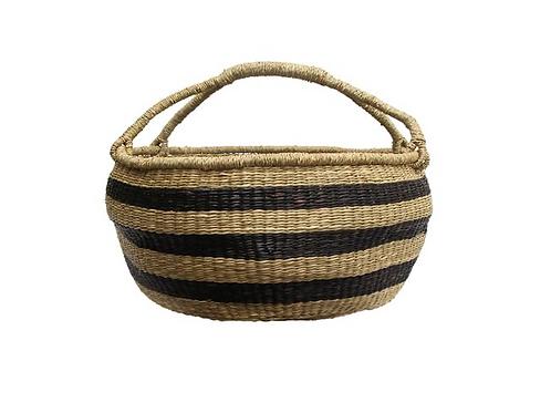 Oversized Slouched Basket ~ Black + Natural Stripe