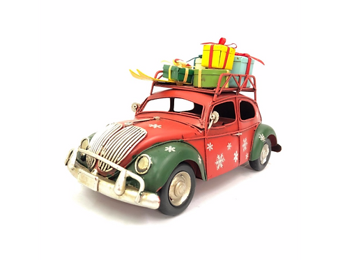 Christmas Rusty Red VW Beetle Ornament