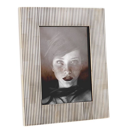 Pin Stripe White & Black Bone Frame 5X7""