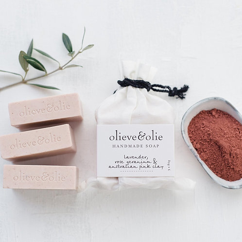 Hand Made Bar Soap Set of 3 ~ Lavender, Rose Geranium, Pink Clay