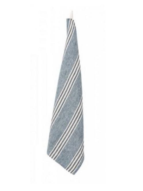 Indigo Stripe Linen Tea Towel