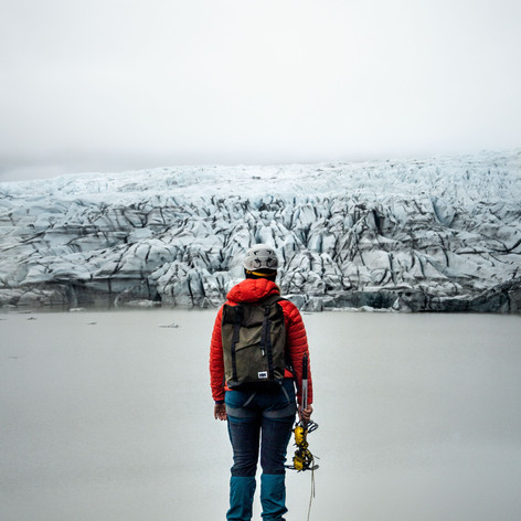 Woman Stares at glacier before tour