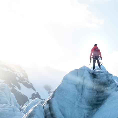 Standing on top of Iceland's biggest glacier Vatnajokull.
