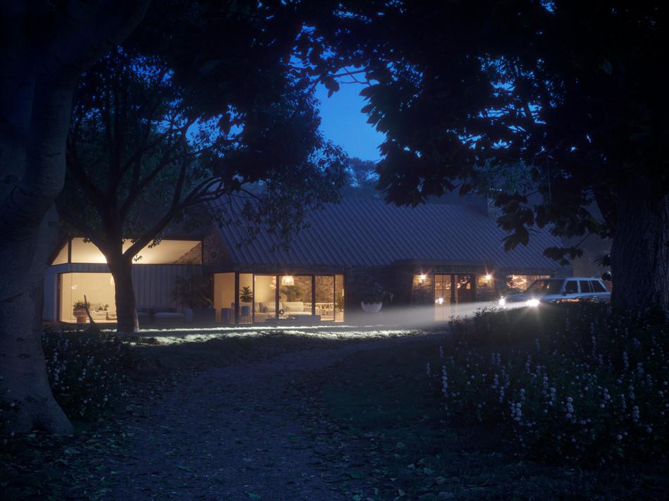 Rural House Blue Hour Scene