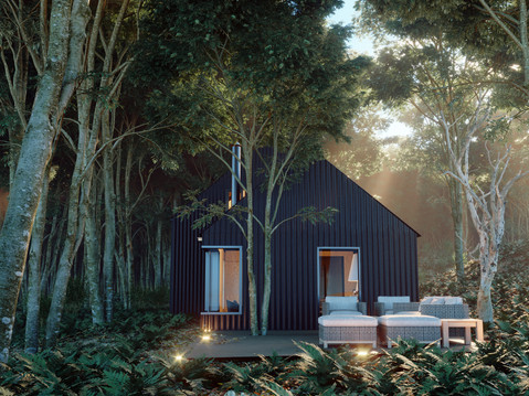 Corrugated house in the woods_view2