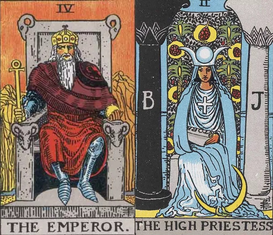 The Emperor and High Priestess Tarot Combination in love,work and health