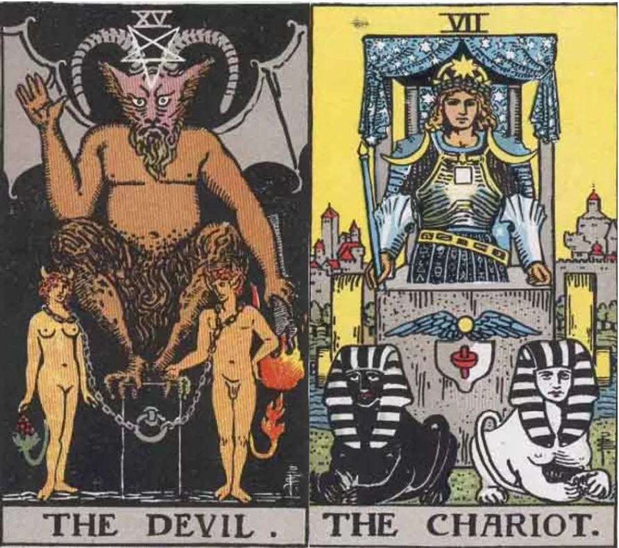 Devil and Chariot tarot cards combinations