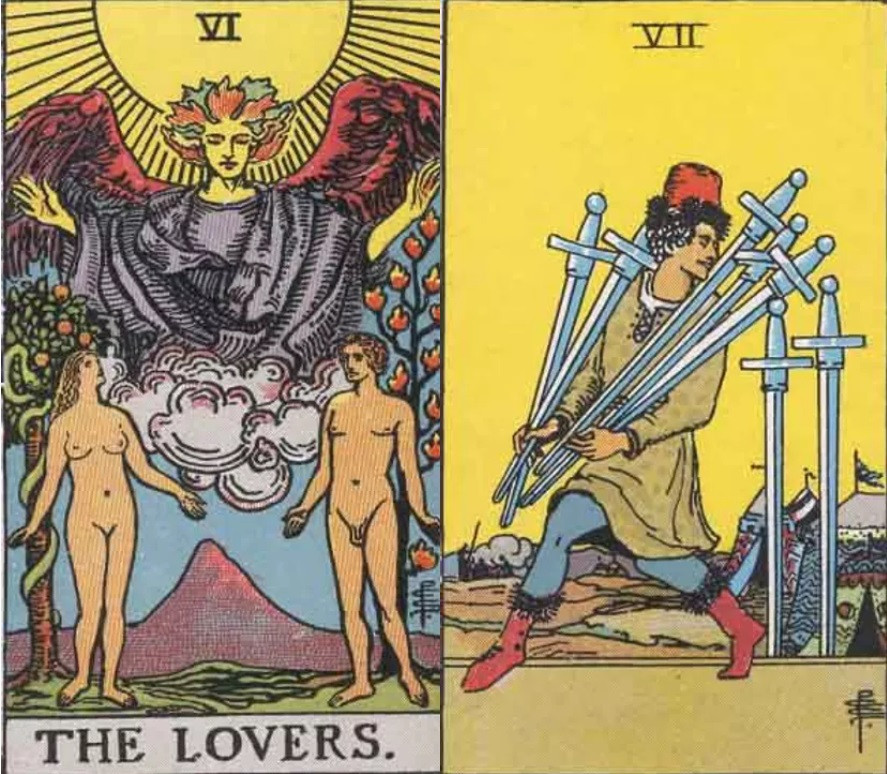 The Lovers and Seven of Swords tarot cards combination