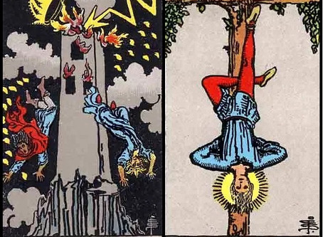 Tarot Cards Combinations: The Tower and Hanged Man
